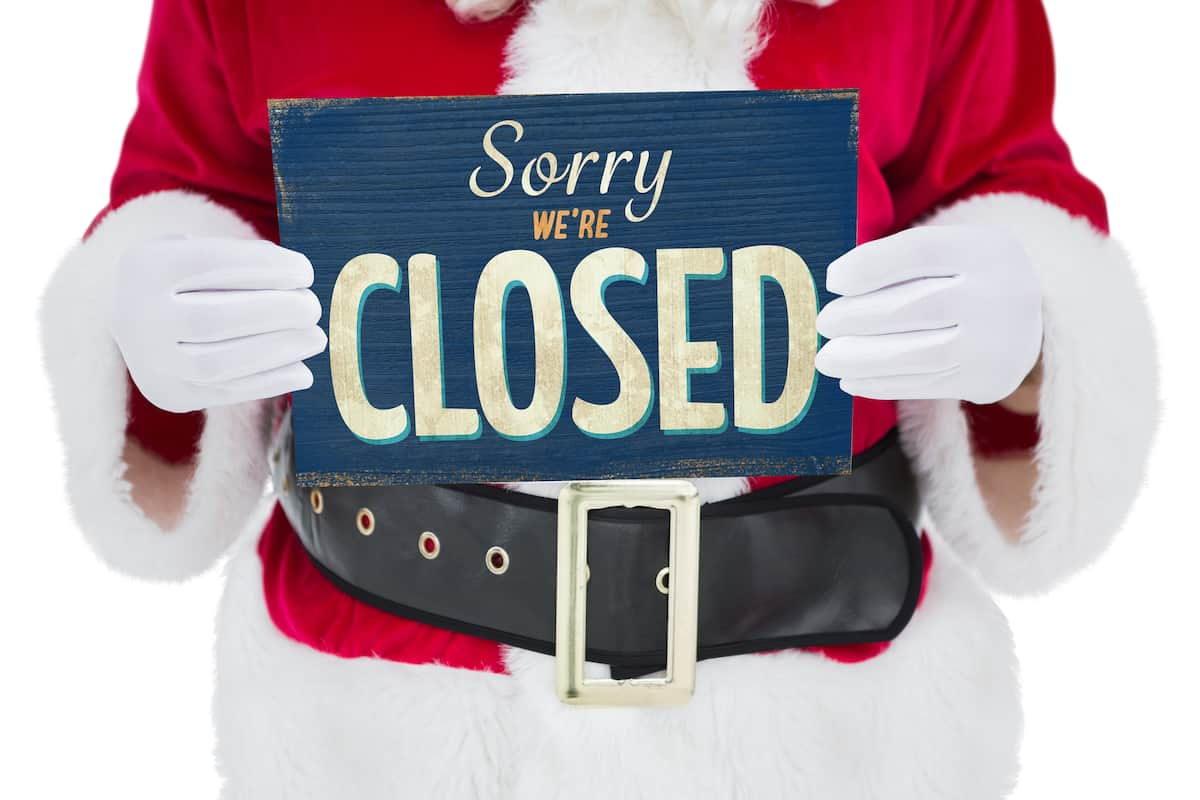 What's open and closed Christmas New Years